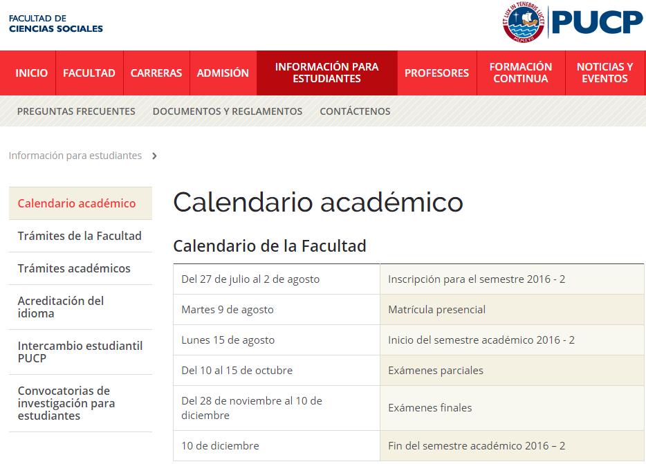 Calendario De Octubre 2019 Peru.Calendario Academico Facultad De Ciencias Sociales